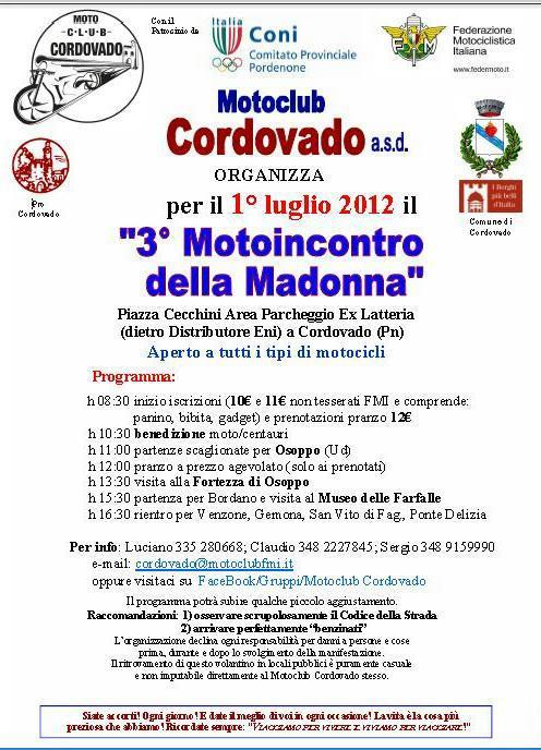 Motoraduno Cordovado Terzo Motoincontro della Madonna